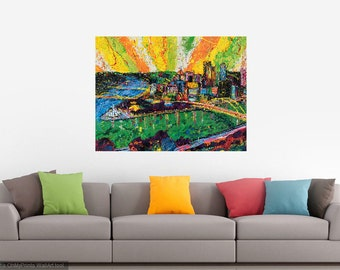 Pittsburgh wall art, modern art, Office art, Metal prints, Pittsburgh Artist, City Skyline, Three Rivers ,The Point,  by Johno Prascak