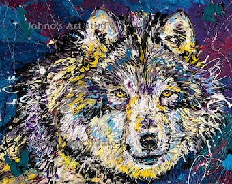 Wolf art, Wolf print, Wolf wall art, modern wall art,wildlife art, Pittsburgh artist, by Johno Prascak, Johnos Art Studio