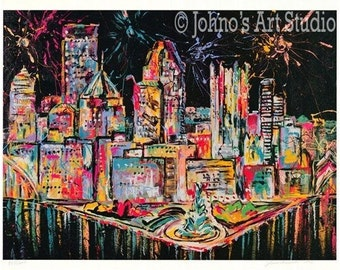 Pittsburgh Skyline Art, Fireworks, Pittsburgh point, Three Rivers,  Print by Johno Prascak