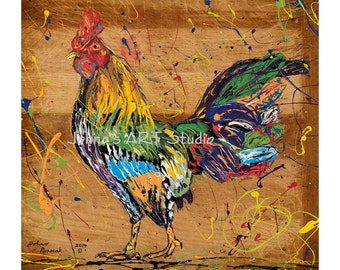 Rooster wall art, Rooster print, Kitchen art, Bird art, Nature art, metal prints,  Johno Prascak, Johnos Art Studio