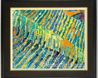Wine room wall art, Modern Vineyard wall art, Abstract wall art, contemporay art, vineyard print,by Johno Prascak