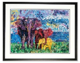 Elephant wall art, Elephant print, African Elephant, Endangered species, Elephant family, by Johno Prascak