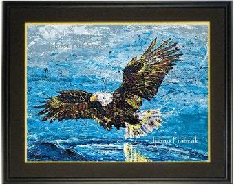 Eagle wall art, Bald eagle print, Bald Eagle wall art, Framed Bird art, National bird wall art, by Johno Prascak