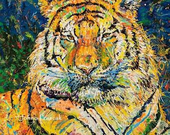 Tiger art,  Big Cat art, Tiger print, Pittsburgh zoo tiger, by Johno Prascak, Johnos Art Studio
