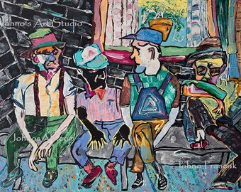 park bench, old men sitting on bench, city park art, abstract wall art, modern art art by Johno prascak