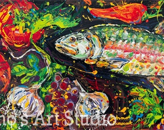Fish Painting, Kitchen Art, Garlic painting, by Pittsburgh artist Johno Prascak