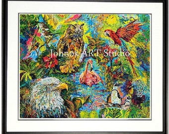Bird wall art, Aviary wall art, National Aviary wall art, Bird print, Pittsburgh Aviary, Johno Prascak