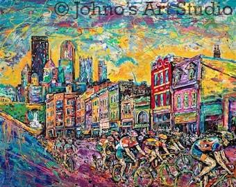 Cycling art, cyclist Painting, Bike art, City Street Print, Pittsburgh sotuh side, historic south side,by Johno Prascak