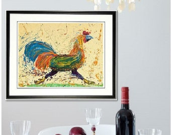 Rooster wall art, Chicken wall art, rooster print, kitchen wall art, chicken art, Johno Prascak