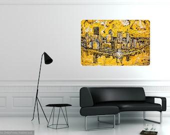 Pittsburgh Skyline art, Modern wall art, Metal prints, Pittsburgh Artist, Black n Gold, Three Rivers ,The Point,  by Johno Prascak