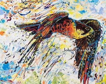 Bird wall art, man cave art, Peregrine Falcon art, Pittsburgh artist, by Johno Prascak, Johnos Art Studio