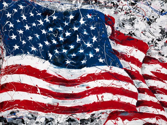 American Flag Art Red White And Blue September 11th Etsy