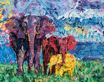 Elephant art, endangered species, Animal wall art, wildlife art,Pittsburgh artist, art by Johno Prascak, Johnos Art Studio