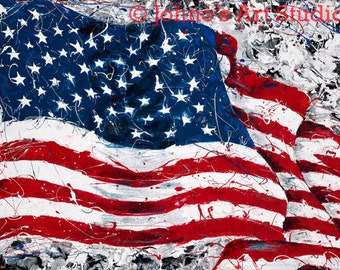 Patriotic Art, American Flag, Stars and Stripes, Inspired by Sept. 11, Red White Blue, Pittsburgh artist Johno