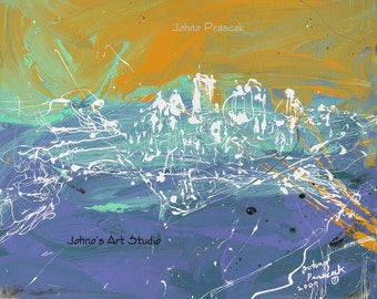 Modern wall art, Modern Pittsburgh art, Drip art, Metal prints, Pittsburgh Artist, City Skyline,  Johno Prascak