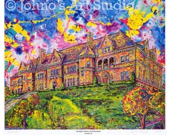 Impressionist art, Pittsburgh art, Landmarks,  Carnegie Library Limited Editon Print by Johno Prascak