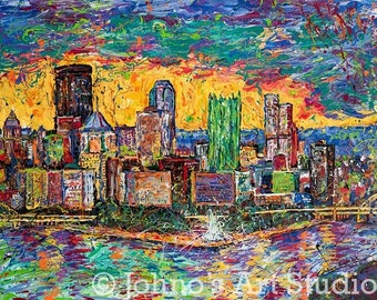 Pittsburgh Skyline Art,  The Point,  Sunset painting, Print by Johno Prascak