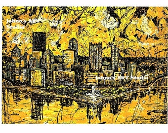 Man cave wall art,  Black n Gold Pittsburgh wall art,  City Skyline print, Pittsburgh Pride, by Johno Prascak