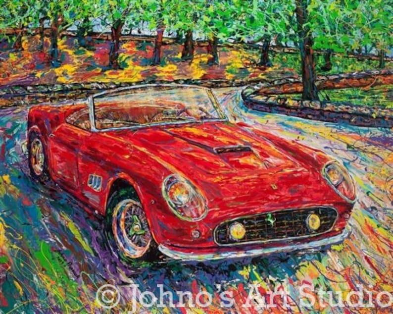 Red Sports Car Art Red Car Print Car Print 1959 Ferrari 250 Etsy