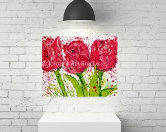 Tulips, Tulip wall art, Tulip print, Spring flowers, Pittsburgh artist, by Johno Prascak, Johnos Art Studio