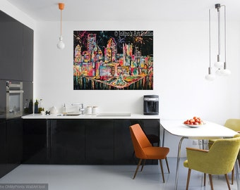Pittsburgh Skyline art, Light up Night Pittsburgh, Modern wall art, Metal prints, Pittsburgh Artist, Johno Prascak
