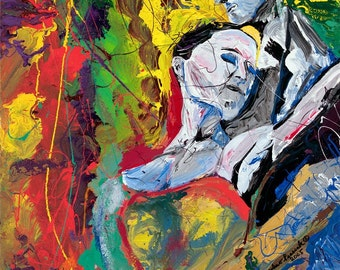 Romantic wall art, Bedroom wall art, Lovers, figure art, livingroom wall art, art by Johno prascak