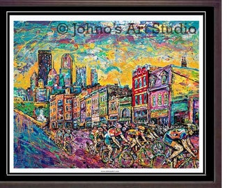 Cycling painting, Bikes on City Street, East Carson st,  Pittsburgh wall art, Print Limited Edition by Johno Prascak