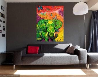 Metal print, Elephant art, Endangered species, Modern elephant art, Animal wall art, Elephant wall art,  Johno Prascak, Johnos Art Studio