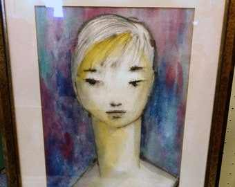Modernist Portrait Abstract Watercolor Painting / Girl Painting 1959 / Portrait