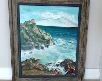 Vintage Seascape Oil Painting / Extra Large
