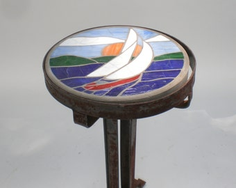 Vintage Tile Top Table / Nautical table