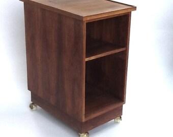 Vintage Teak Bar Cart / Tall Side Cabinet