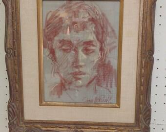 Jan de Ruth Portrait on paper/ REDUCED