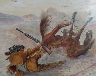 Western Native American Oil Painting / oil on board