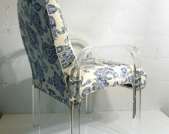 Pair Lucite Blue and White / New Upholstery