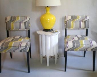 Modern Upholstered Side Chair / Pair