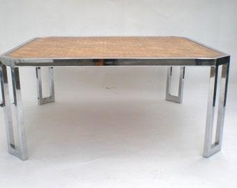 Milo Baughman Chrome Woven Bamboo Coffee Table /  Chevron Parquet