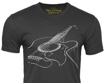 Acoustic Guitar T-Shirt Musician Tee Think Out Loud Apparel, 100% Cotton, guitar player gift for men cool guitar band shirt music lover tee