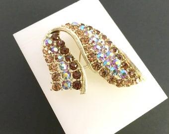 Lisner Rhinestone Brooch, Vintage Jewelry, Aurora Borealis Rhinestone Jewelry, Smoked Topaz Vintage Brooch, Gold Mid-Century Lisner Jewelry,