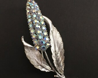 Coro Pegasus Floral Brooch, Vintage Jewelry, Rhinestone Jewelry, Coro Jewelry, Silver Hyacinth Brooch, Aurora Borealis Rhinestone Brooch