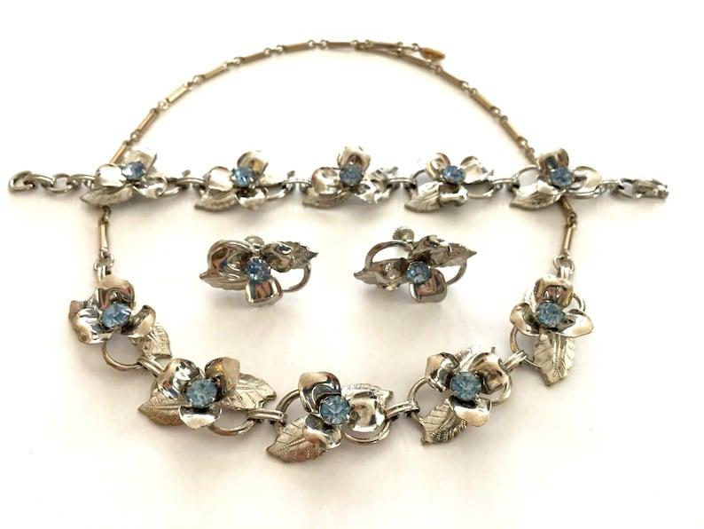 Silver Flower Necklace Bracelet Earrings Vintage Jewelry Etsy