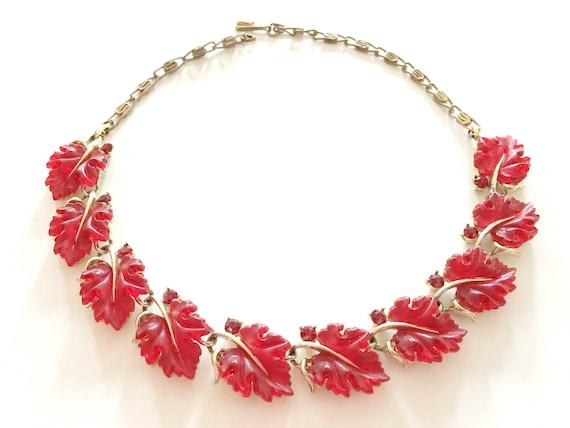 Red Lisner Necklace, Vintage Jewelry, Lucite Neckl