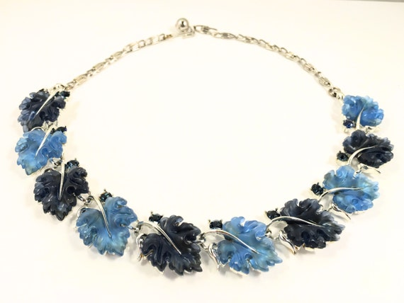Blue Lisner Necklace, Vintage Jewelry, Rhinestone