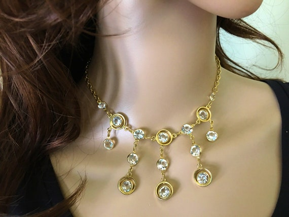 Vintage Rhinestone Necklace, 50s Vintage Jewelry,