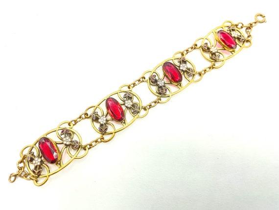 Rhinestone Brass Metalwork Link Vintage Art Deco Czech Style Amber Glass Bracelet 1920s Costume Jewelry
