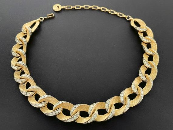 Vintage Gold Link Adjustable Choker  VTG Mid Century Textured Novelty Link Necklace