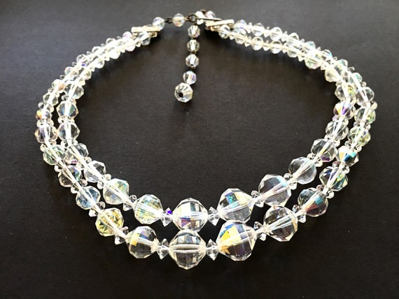 Mid-Century Choker with Clip Earrings Vintage 1950s Signed Laguna Crystal Aurora Borealis Necklace /& Earrings in Original Clamshell Box