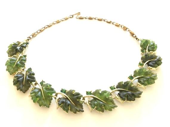 Green Lisner Necklace, Vintage Jewelry, Vintage Ne