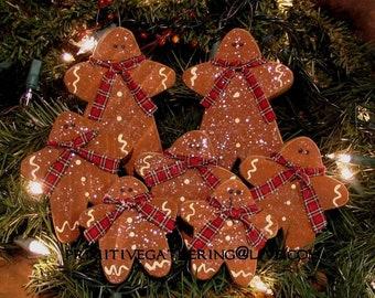 7 primitive folk art gingerbread men christmas wood ornaments ornies - Primitive Christmas Tree Ornaments