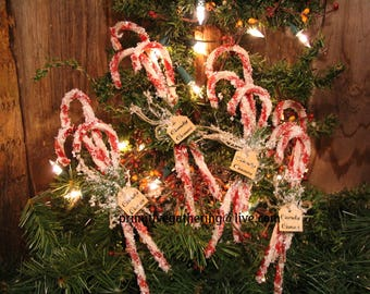 12 primitive christmas vintage style chenille candy canes glittered tag sign ornament - Primitive Christmas Tree Ornaments